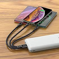 Кабель USB Hoco X47 Harbor 3in1 Type-C + micro USB + Lightning Black, фото 2