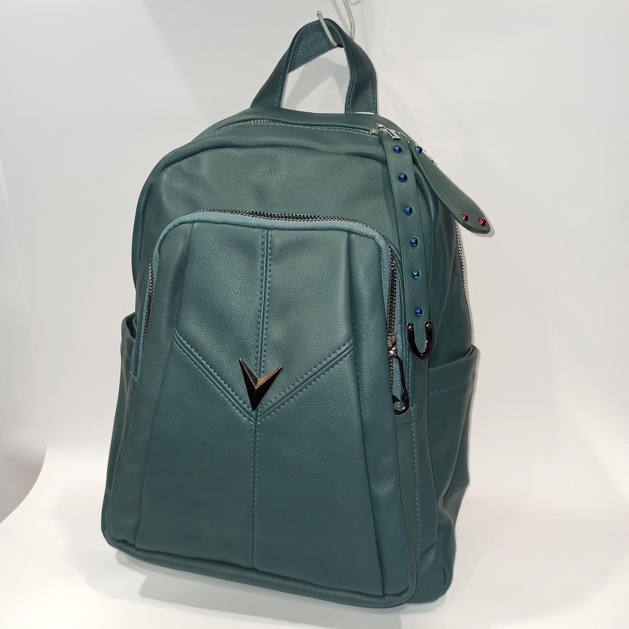 Красивый женский городской кожаный рюкзак. Модель 1619-5