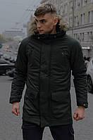 Мужская зимняя парка хаки куртка длинная Intruder Hotwint с мехом
