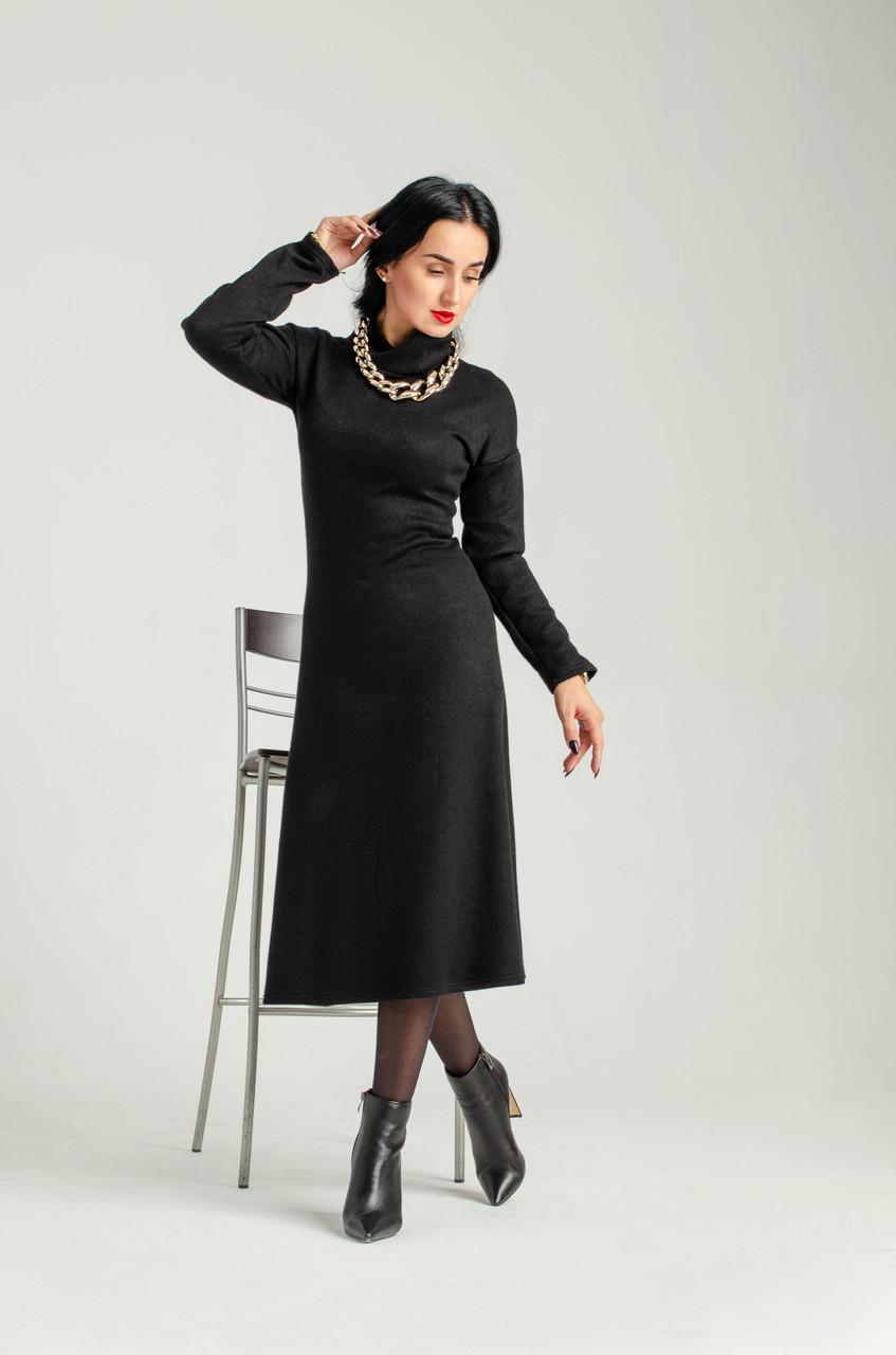 """Гарне тепле плаття , чорне """"339"""" Розміри 44."""