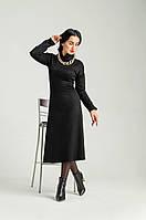 """Красивое теплое платье , черное """"339"""" Размеры 44,46,48,50."""