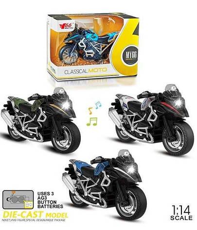 Мотоцикл металопластик MY 66 M 1218 (168/2) 3 види, інерція, звук, на батарейках в коробці, фото 2