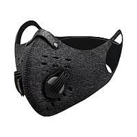 Спортивная маска-респиратор со сменным угольным фильтром PM 2.5 пылезащитная Серый, фото 1