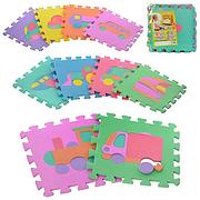 Детский Коврик Мозаика Пазл для пола М 0377 EVA Транспорт, 10 деталей, упаковка