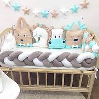 Бортики Зверята и косичка, комплект защитных бортиков в детскую кроватку