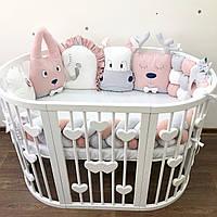 Бортики Зверята в круглую и овальную кровать, защитные бортики в детскую кроватку