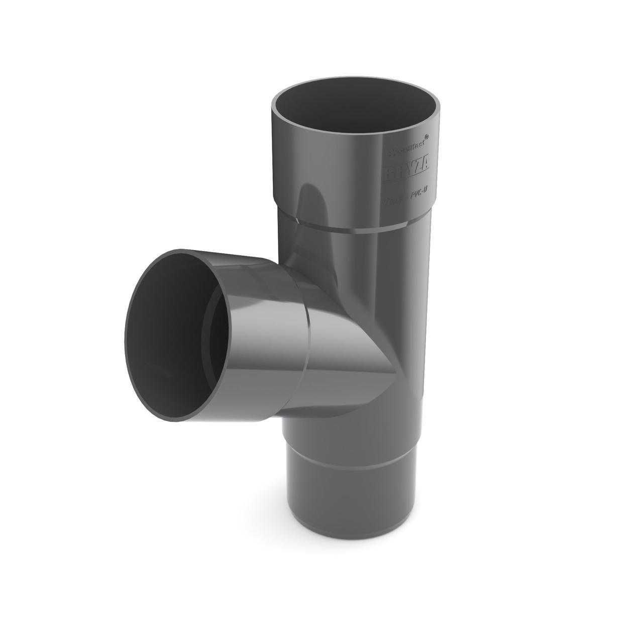 Трійник труби Тройник 90/90/90 мм Водосточная система BRYZA Бриза ПВХ Польща графит 7021