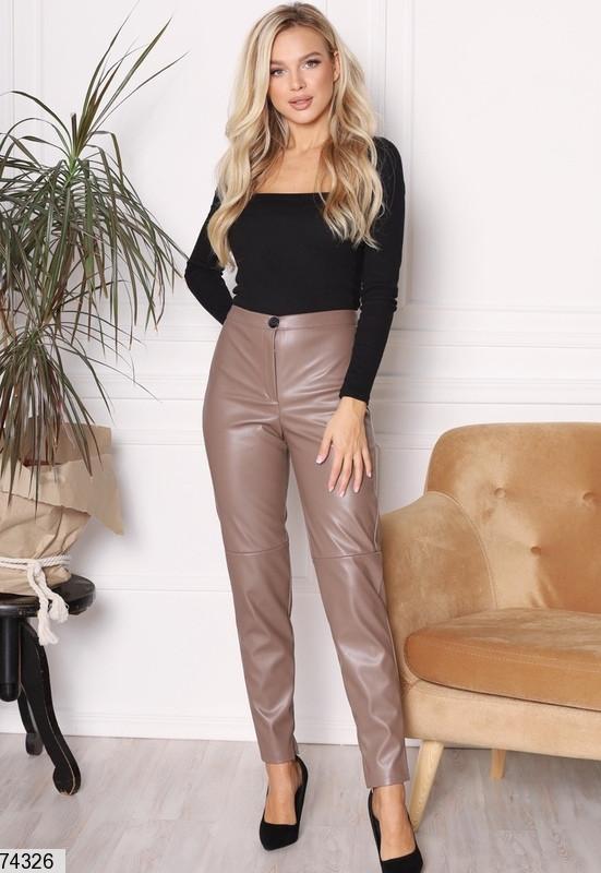 Р. 42-54 Женские брюки из эко-кожи на флисе с высокой талией