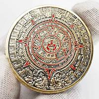 Бронзовая сувенирная монета Ацтеков ''Камень Солнца''