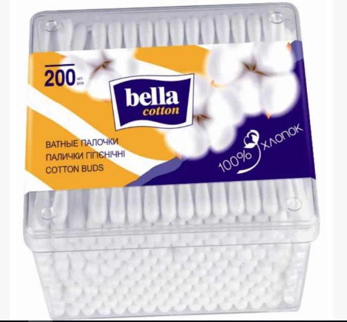 Ватные палочки Bella Coton, в коробке (200шт.)