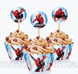 """Топперы для капкейков """" Человек паук """", 6 шт."""