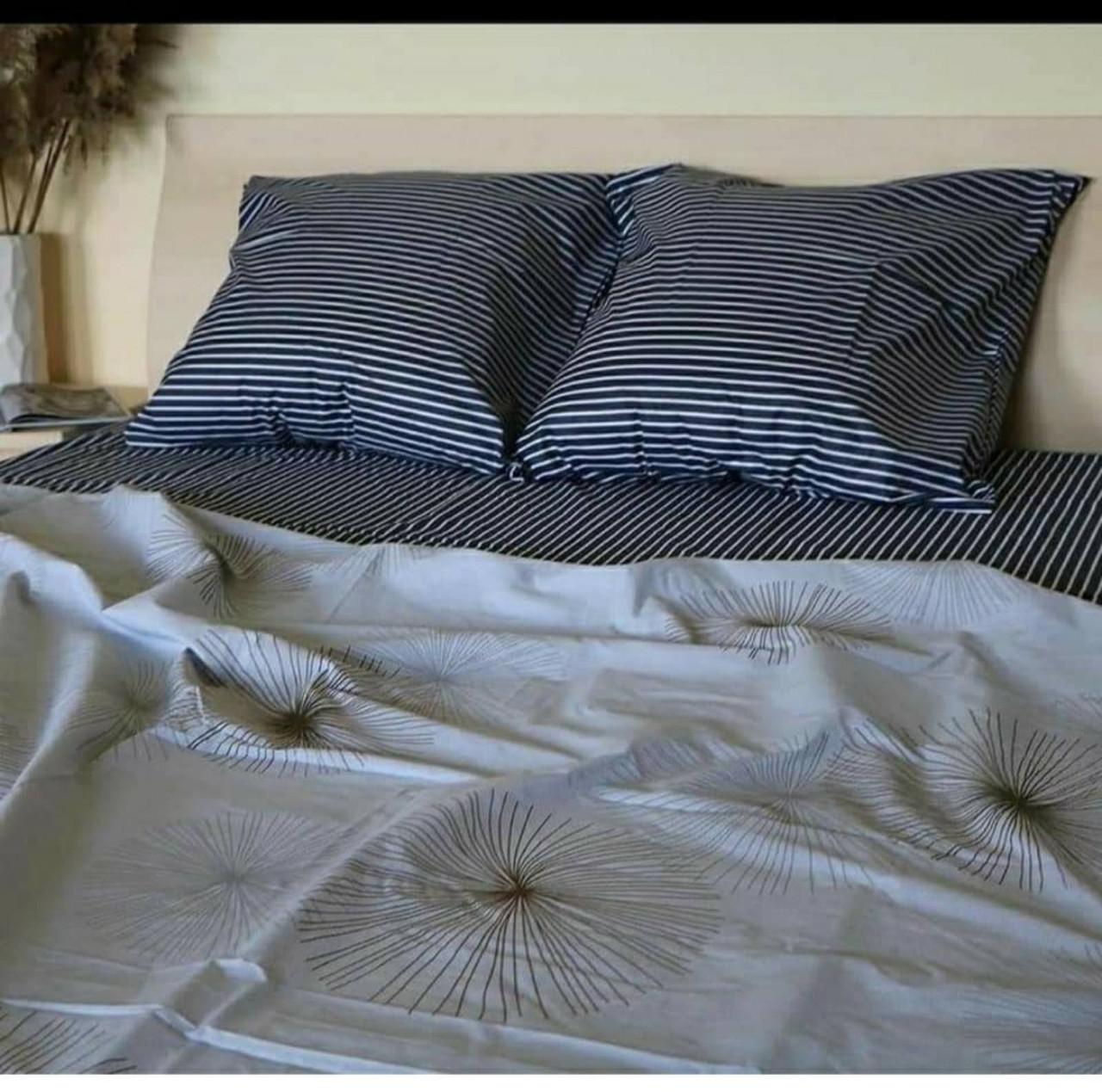 Двоспальний постільний комплект Кульбаби смужка
