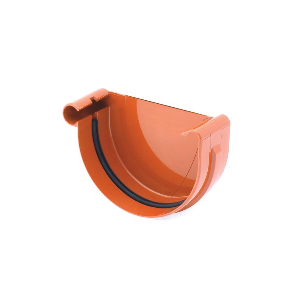 Заглушка ринви ліва желоба левая 125 мм Водосточная система BRYZA Бриза ПВХ Польща кирпичный 8004