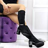 Элегантные высокие черные замшевые женские сапоги с декором на удобном каблуке, фото 4