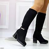 Элегантные высокие черные замшевые женские сапоги с декором на удобном каблуке, фото 6
