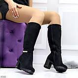 Элегантные высокие черные замшевые женские сапоги с декором на удобном каблуке, фото 7