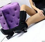 Элегантные высокие черные замшевые женские сапоги с декором на удобном каблуке, фото 9