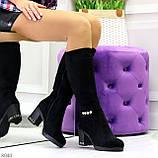 Элегантные высокие черные замшевые женские сапоги с декором на удобном каблуке, фото 10