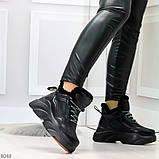 Крутые зимние черные женские высокие кроссовки сникерсы на шнуровке, фото 2
