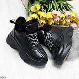 Крутые зимние черные женские высокие кроссовки сникерсы на шнуровке, фото 4