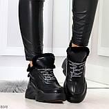 Крутые зимние черные женские высокие кроссовки сникерсы на шнуровке, фото 5