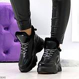 Крутые зимние черные женские высокие кроссовки сникерсы на шнуровке, фото 6