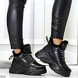 Крутые зимние черные женские высокие кроссовки сникерсы на шнуровке, фото 7