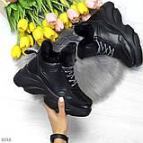 Крутые зимние черные женские высокие кроссовки сникерсы на шнуровке, фото 8