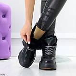 Крутые зимние черные женские высокие кроссовки сникерсы на шнуровке, фото 9