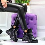 Крутые зимние черные женские высокие кроссовки сникерсы на шнуровке, фото 10