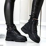 Удобные черные зимние женские ботинки натуральная кожа флотар зима 2020-2021, фото 3