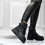 Удобные черные зимние женские ботинки натуральная кожа флотар зима 2020-2021, фото 4