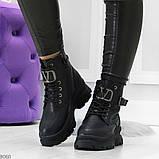 Удобные черные зимние женские ботинки натуральная кожа флотар зима 2020-2021, фото 6