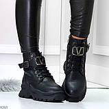 Удобные черные зимние женские ботинки натуральная кожа флотар зима 2020-2021, фото 7