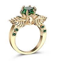 Потрясающая ювелирная бижутерия, зеленое изумрудное кольцо, из желтого золота 750 проба, размер 19