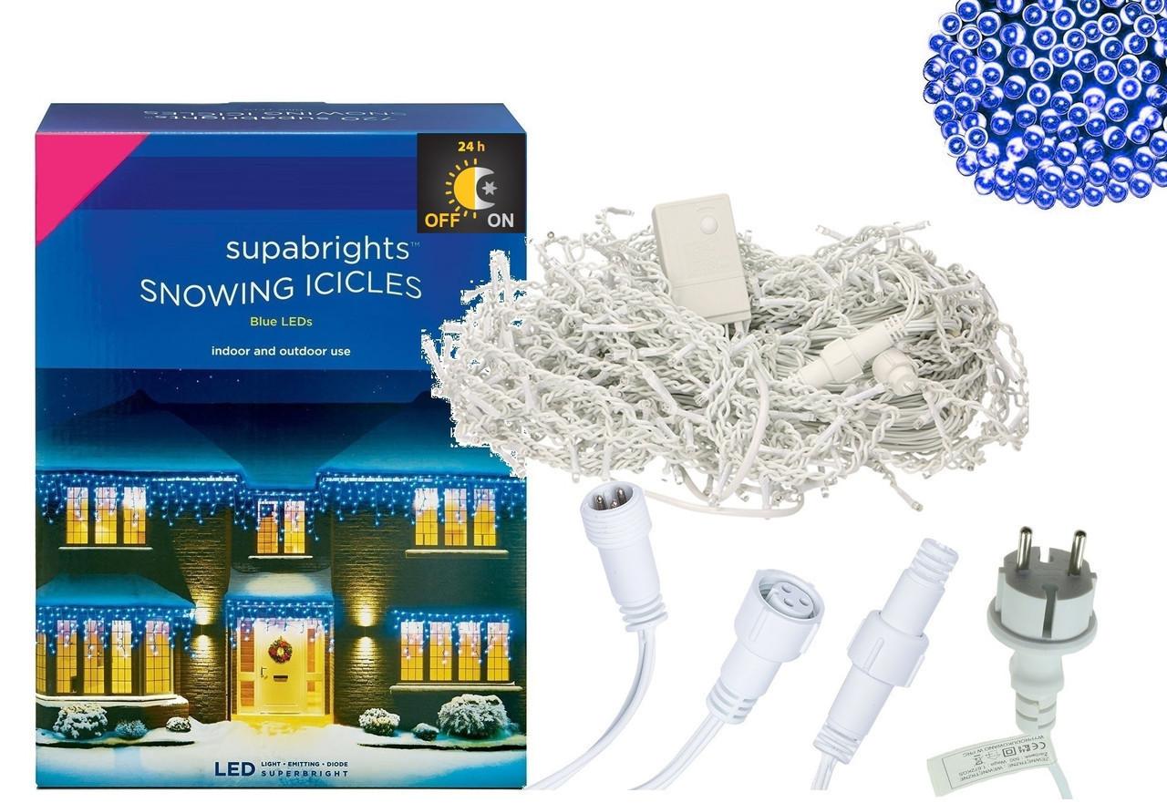 Новогодняя гирлянда Бахрома 300 LED, Голубой свет 14 м + Ночной датчик