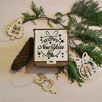 Ёлочные игрушки из дерева «Happy New Year»