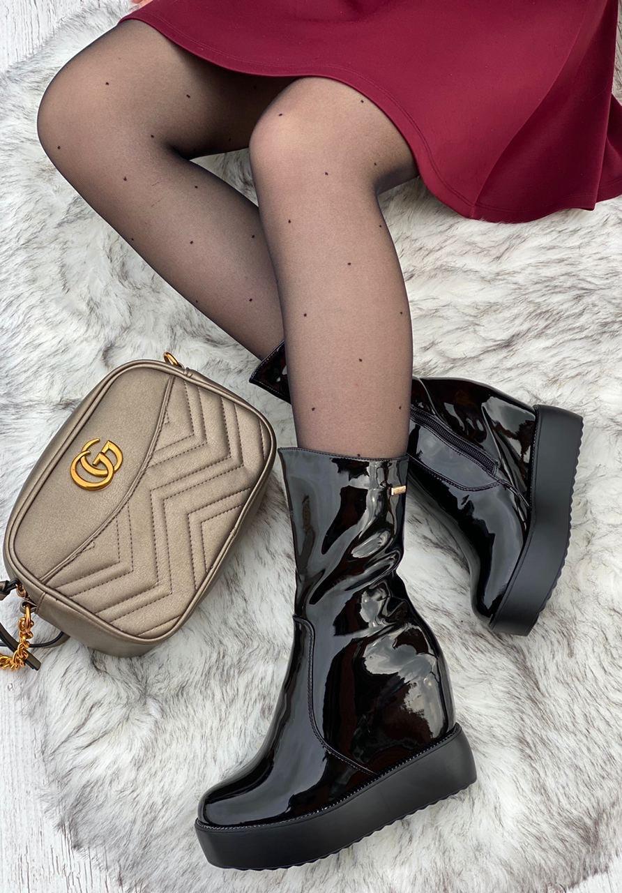 Ботинки женские лаковые Евро-Зима 6 пар в ящике черного цвета 35-40