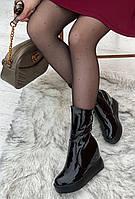 Ботинки женские лаковые Евро-Зима 6 пар в ящике черного цвета 35-40, фото 2