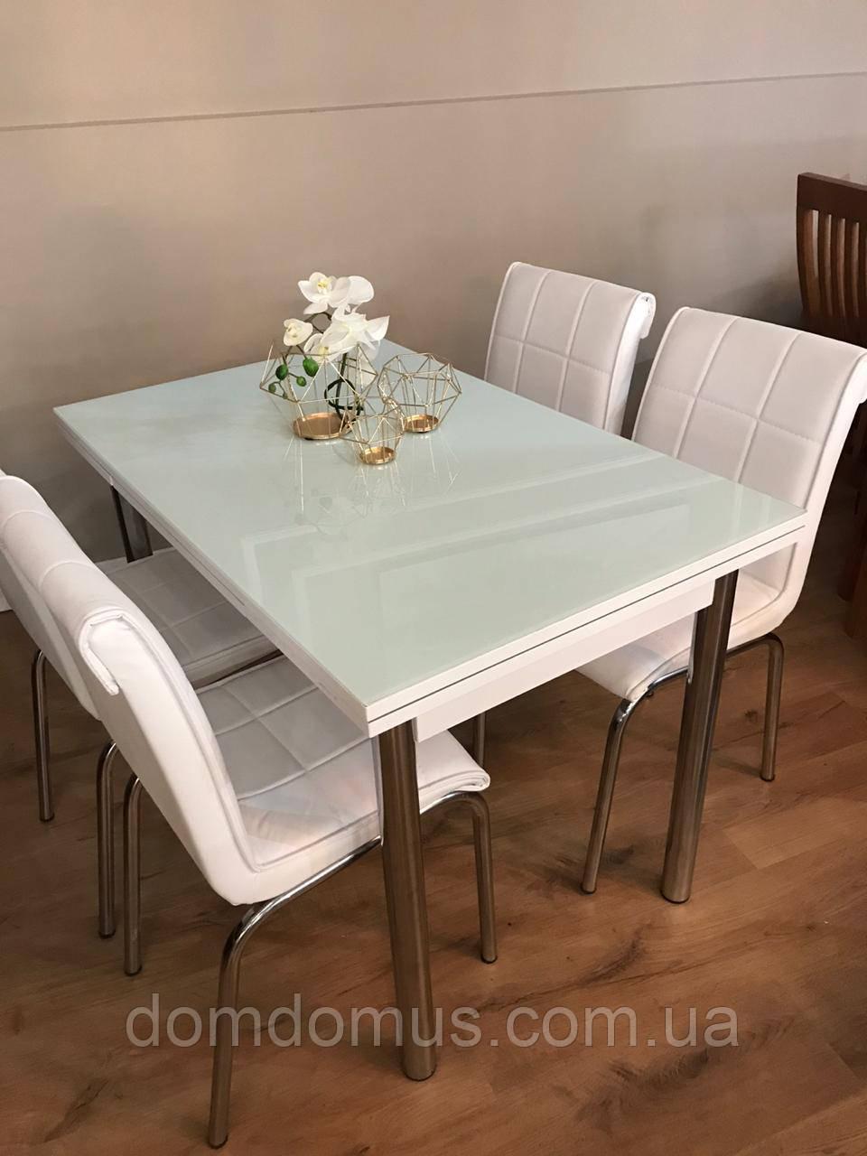 """Комплект обеденной мебели """"Белый """" (стол ДСП, каленное стекло + 4 стула) Лидер, Турция"""