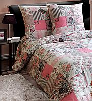 Двуспальный комплект постельного белья (Ранфорс) Украина Прованс розовый