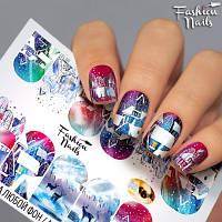 Слайдер-дизайн наклейки на ногти для маникюра водные зима,звери,игрушки новый год Fashion Nails M161