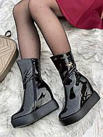 Ботинки женские лаковые Евро-Зима 6 пар в ящике черного цвета 35-40, фото 3