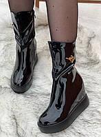 Ботинки женские лаковые Евро-Зима 6 пар в ящике черного цвета 35-40, фото 4