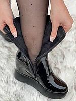 Ботинки женские лаковые Евро-Зима 6 пар в ящике черного цвета 35-40, фото 5