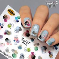 Слайдер-дизайн наклейки на ногти для маникюра водные зима,снежинки,игрушки новый год Fashion Nails M289
