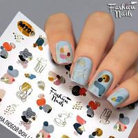 Слайдер-дизайн наклейки на ногти для маникюра водные зима абстакции игрушки новый год Fashion Nails M288
