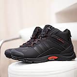 Adidas Climaproof Мужские черные зимние нубуковые кроссовки. Мужские зимние кроссовки с мехом на шнуровке, фото 4