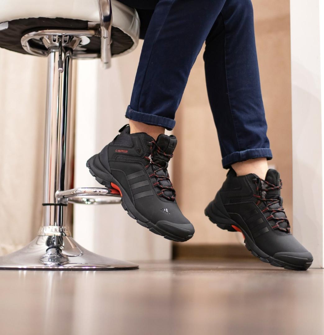 Adidas Climaproof Мужские черные зимние нубуковые кроссовки. Мужские зимние кроссовки с мехом на шнуровке