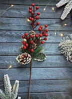"""Новогодняя бутоньерка """"сосна с ягодами и шишками"""", фото 1"""